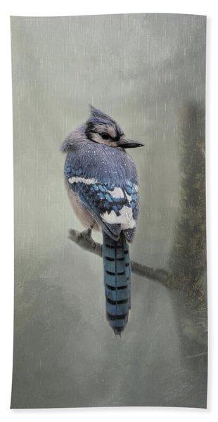 Rainy Day Blue Jay Beach Towel