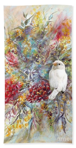 Rare White Sparrow - Portrait View. Beach Towel