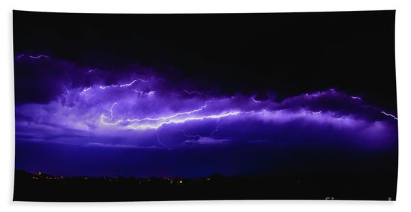 Rays In A Night Storm With Light And Clouds. Beach Towel