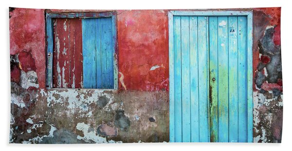 Red, Blue And Grey Wall, Door And Window Beach Towel