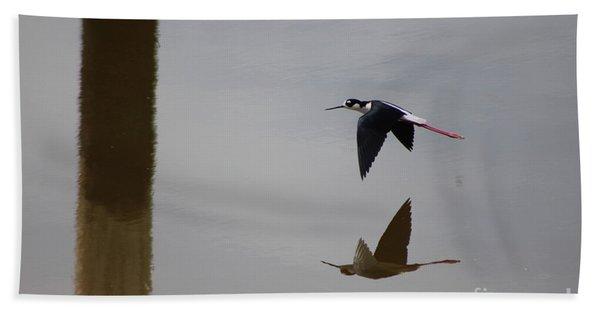 Reflection Of The Salton Sea Black Neck Stilt Flying Beach Towel