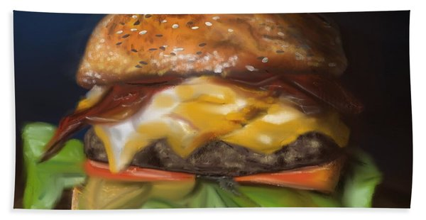 Beach Towel featuring the pastel Renaissance Burger  by Fe Jones