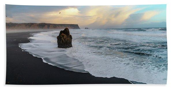 Reynisfjara Beach At Sunset Beach Towel