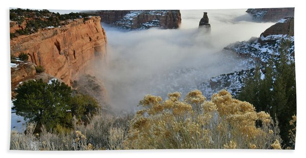 Rim Rock Drive View Of Fogged Independence Canyon Beach Towel