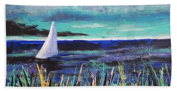 Sailboat Drifting Beach Towel