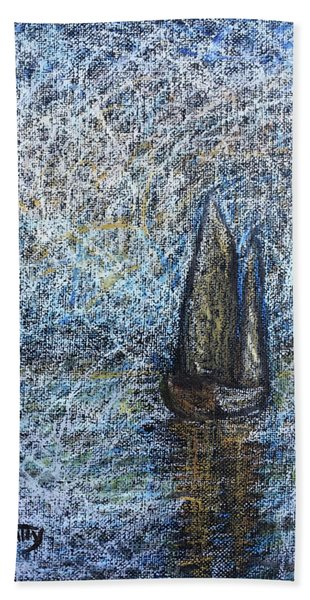 Sailboat In The Mist Beach Towel
