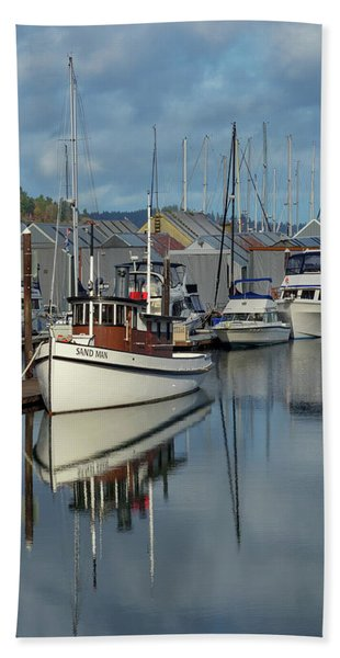 Sailboat Reflection Beach Towel
