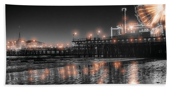 Beach Towel featuring the photograph Santa Monica Glow By Mike-hope by Michael Hope