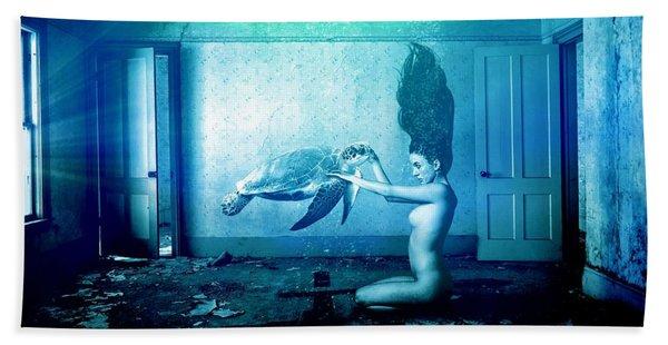 Sea Turtle And Woman Beach Towel