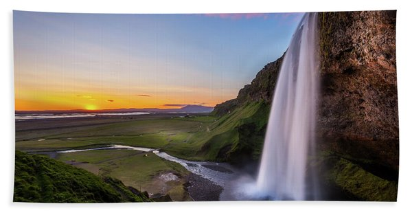 Seljalandsfoss At Sunset Beach Towel
