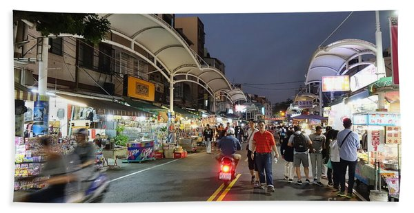 Shopping And Restaurant Street In Taiwan Beach Towel