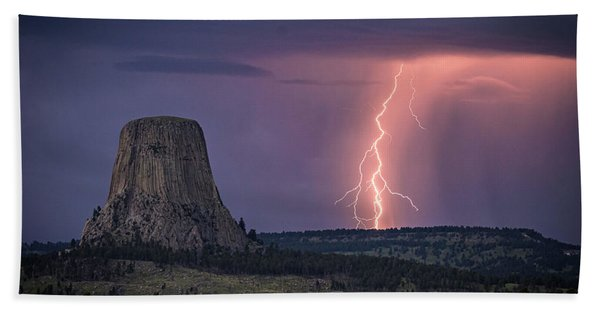 Showers And Lightning Beach Towel