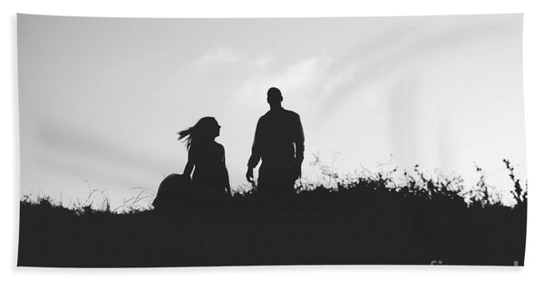 Silhouette Of Couple In Love With Wedding Couple On Top Of A Hil Beach Towel