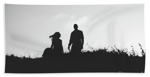 Silhouette Of Couple In Love With Wedding Couple On Top Of A Hill Beach Towel