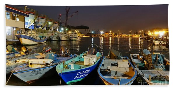 Small Fishing Harbor By Night In Taiwan Beach Towel
