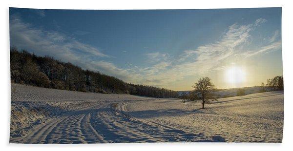 Snow And Sunset Beach Towel