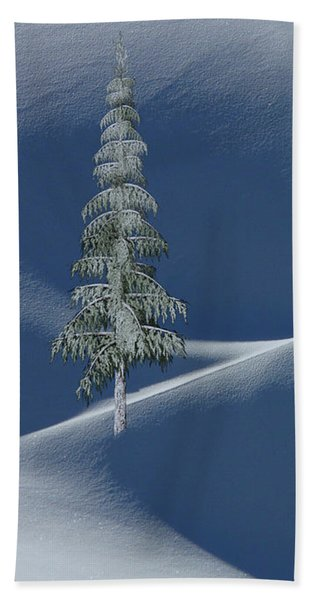 Snow Covered Tree And Mountains Color Beach Sheet