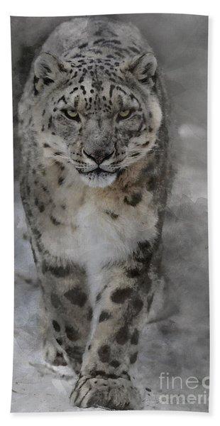 Snow Leopard II Beach Towel
