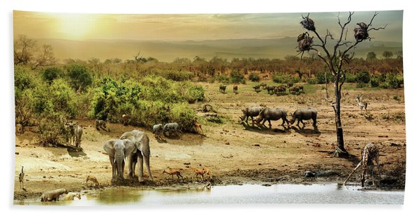 South African Safari Wildlife Fantasy Scene Beach Towel