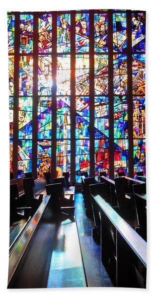 Stained Glass Historical Our Lady Of Czestechowa Shrine Beach Towel
