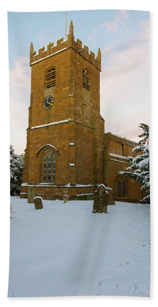 Stone Church In The Snow At Sunset Beach Towel