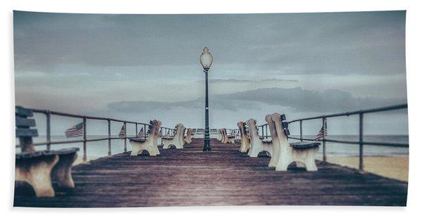 Stormy Boardwalk Beach Towel