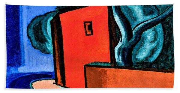Street Corner With Red Building - Digital Remastered Edition Beach Towel