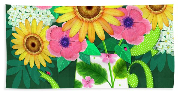Summer Flowers In Coffee Pot Beach Towel