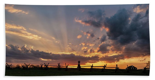Sunrays At Sunset Beach Towel
