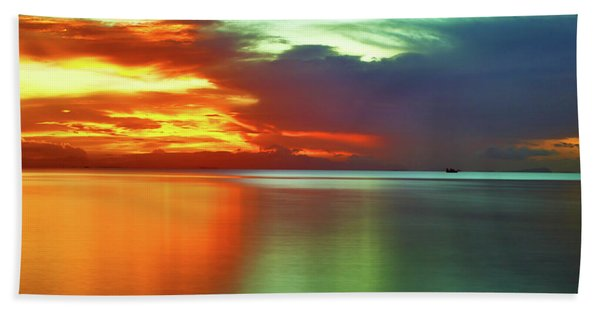 Sunset And Boat Beach Towel