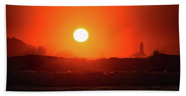 Sunset At Pointe Du Raz Beach Towel