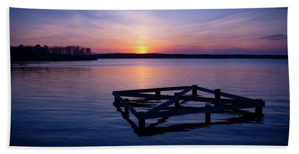 Sunset At The Reservoir  Beach Towel