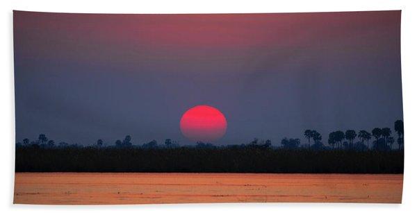 Sunset In Botswana Beach Towel