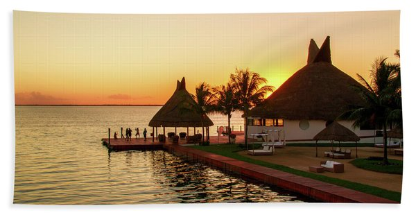 Sunset In Cancun Beach Towel