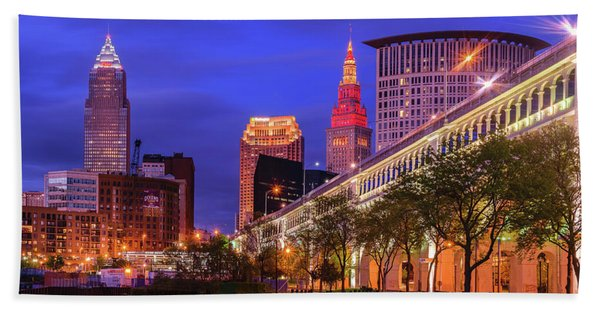 Sunset Over Downtown Cleveland Beach Towel