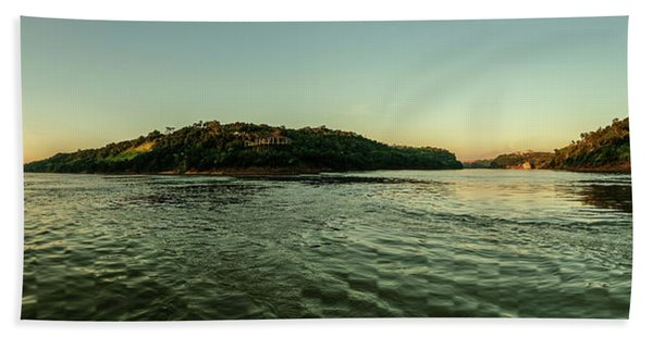 Sunset River Confluence Beach Towel