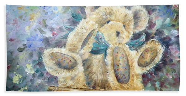 Teddy Bear In Basket Beach Sheet