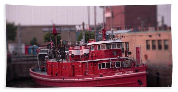 The Fireboat Edward M. Cotter. Beach Towel