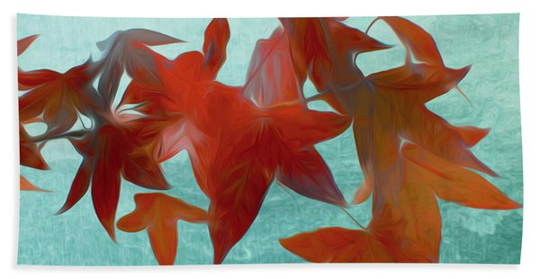 The Red Leaves Beach Towel