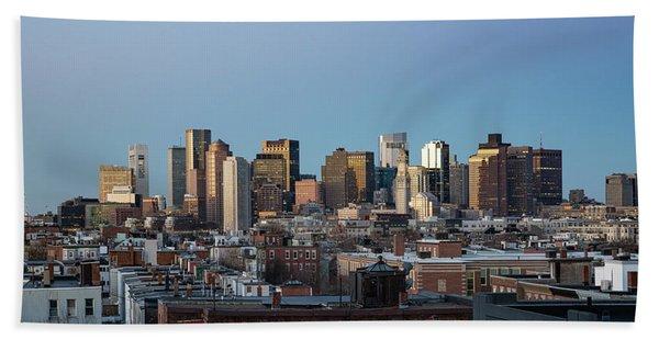 The Skyline Of Boston In Massachusetts, Usa On A Clear Winter Ev Beach Towel
