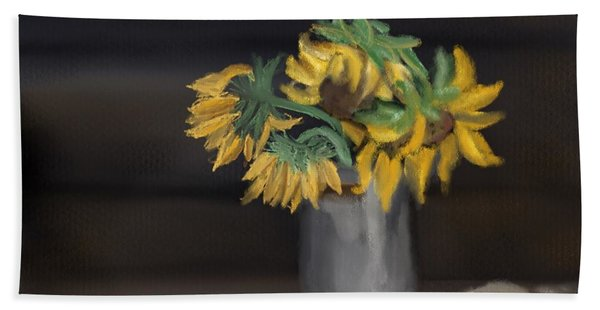 Beach Towel featuring the painting The Sun Flowers  by Fe Jones