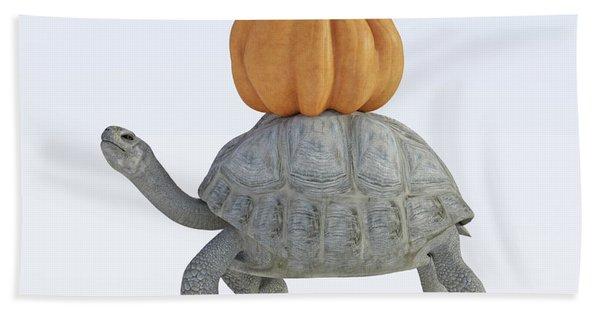 The Tortoise And The Pumpkin Beach Towel