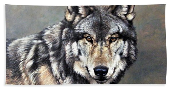 Timber Wolf By Alan M Hunt Beach Towel