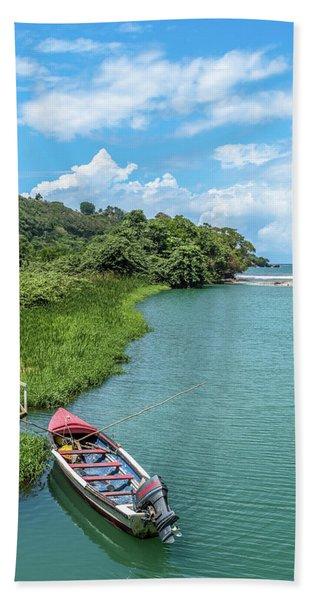 Tour Boat In Jamaica Beach Towel