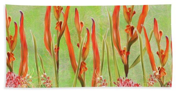 Tropical Floral Print Lime Green Batik Beach Sheet