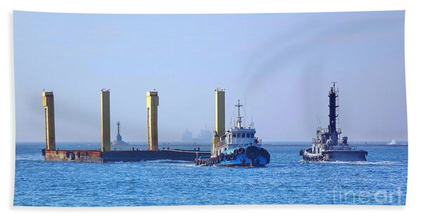Tugboat Pulls Large Load Into Kaohsiung Port Beach Towel