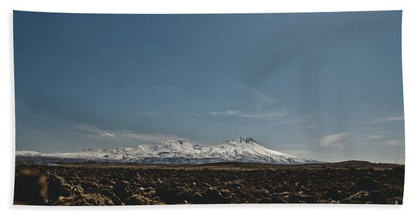 Turkish Landscapes With Snowy Mountains In The Background Beach Towel