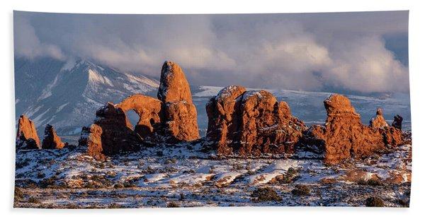 Turret Arch Winter Sunset Beach Towel