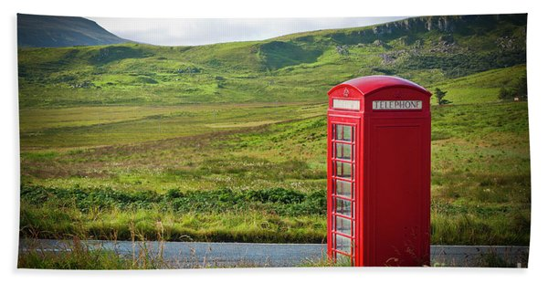 Typical Red English Telephone Box In A Rural Area Near A Road. Beach Towel