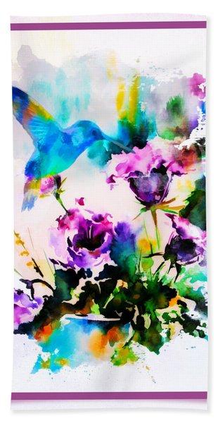Watercolor Hummingbird Beach Towel